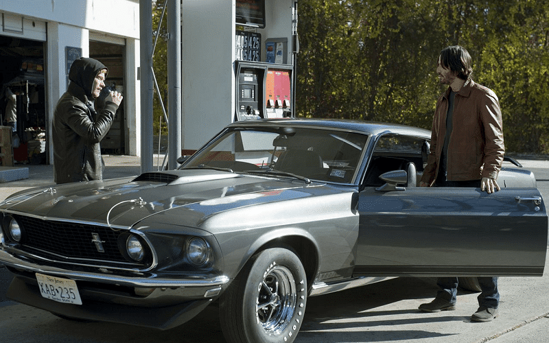 John Wick's 1969 Ford Mustang Boss 429 in a movie scene