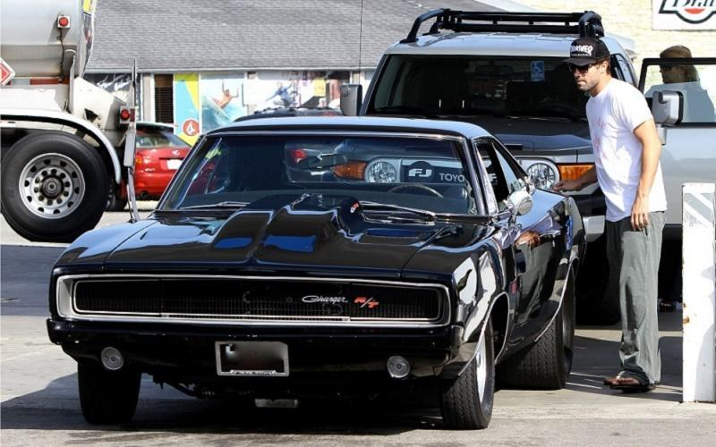 Brody Jenner and his 1968 Dodge Charger R/T in a gas station