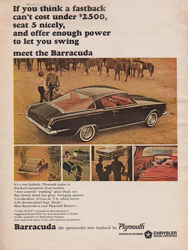 Plymouth-Barracuda-1964-ad-horses-Curbside-Classic-Website-Pinterest-376x500