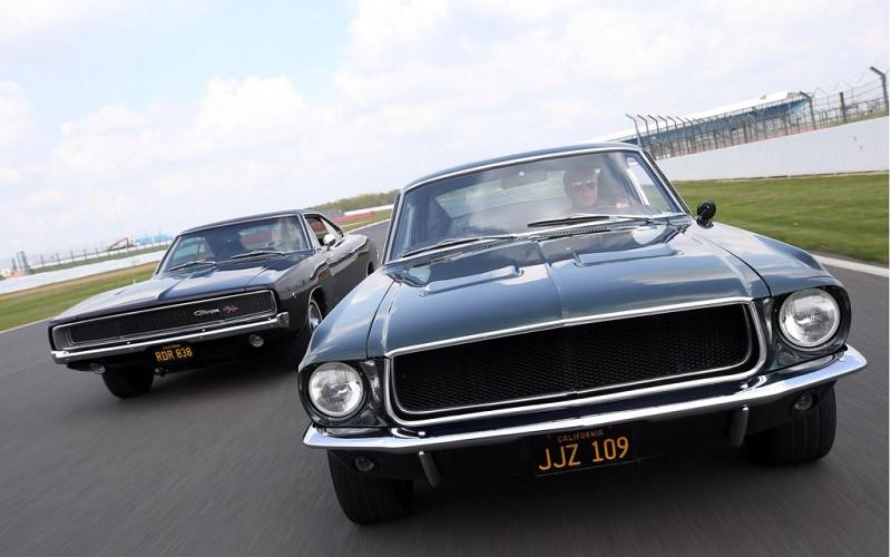 1968 Ford Mustang Fastback and 1968 Dodge Charger R/T recreating iconic Bullitt car chase scene at the Goodwood Festival of Speed
